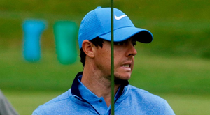 Rory McIlroy reacts after missing a putt during a practice round at Oakmont. Photo: John Minchillo/AP