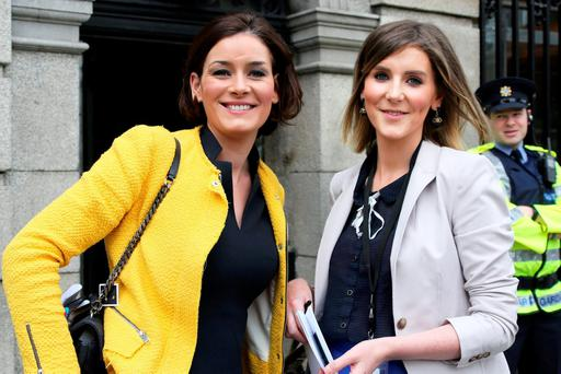Kate O'Connell with her sister Therese Newman, who is her parliamentary assistant, at Leinster House yesterday. Photo: Tom Burke