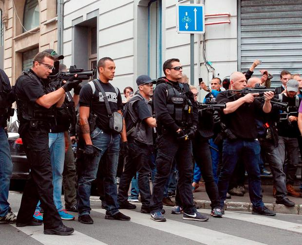 French Police confront hooligans in Marseille