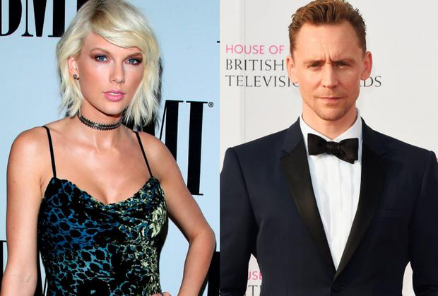 Taylor Swift, left, and Tom Hiddleston, right
