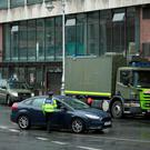 The Army Bomb Disposal Unit at an incident in Store St this morning.