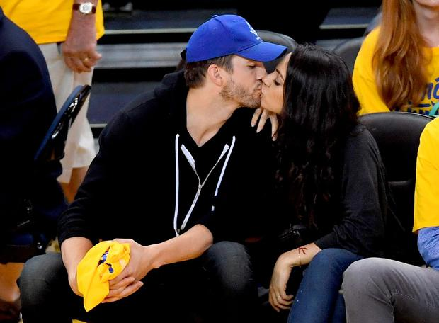 (L-R) Actors Ashton Kutcher and Mila Kunis attend Game 2 of the 2016 NBA Finals between the Golden State Warriors and the Cleveland Cavaliers at ORACLE Arena