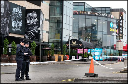 Gardai at the scene at the Wright Venue in Airside in Swords where the victim raised the alarm that he had been stabbed