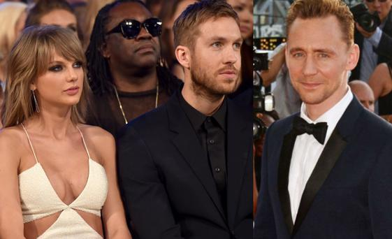 Taylor Swift and Calvin Harris in 2015, left, and Tom Hiddleston, right