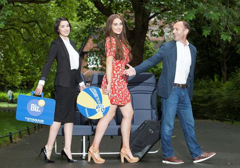 Models Roz Purcell and Laura O'Shea join Ryanair's Chief Marketing Officer, Kenny Jacobs to unveil its new Leisure Plus fare. Photo: Peter Houlihan