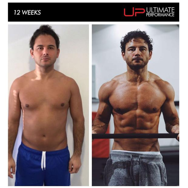 Ryan Thomas - before and after. Photo: Ultimate Performance Fitness, Manchester