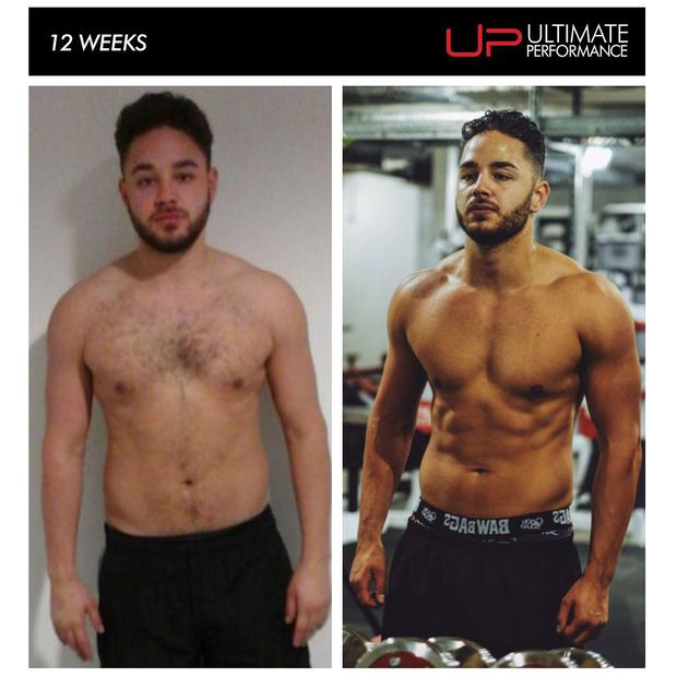 Adam Thomas - before and after. Photo: Ultimate Performance Fitness, Manchester