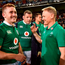 Ireland head coach Joe Schmidt with Mike Ross, centre, and Paddy Jackson after the first Test victory