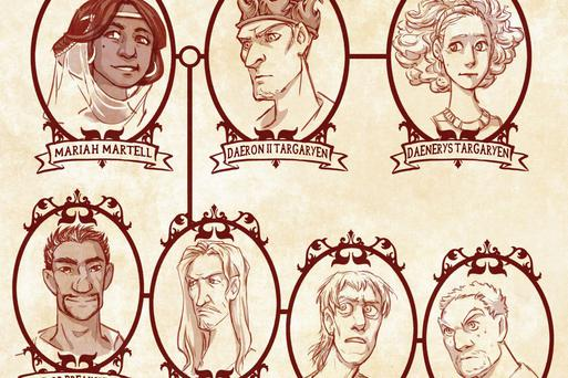 A zoomed in section of the Targaryen family tree. Photo: Maryon B. / Deviant Art