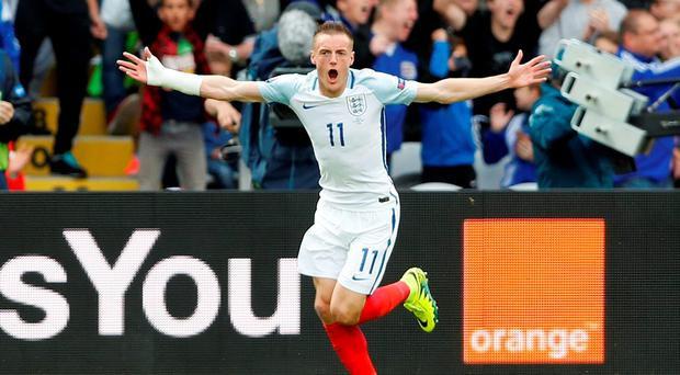 England's Jamie Vardy celebrates after scoring their first goal REUTERS/Carl Recine