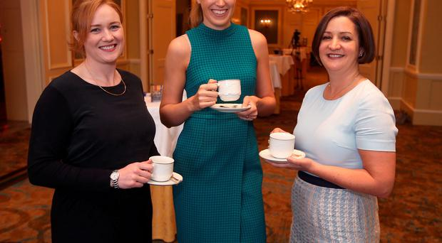 Alice Delahunty, Louise Ganley and Ciara Houlihan from HSBC at the 2016 WXN Top 25 Awards. Picture credit; Damien Eagers 16/6/2016