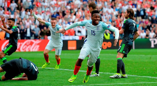 England's Daniel Sturridge scores his sides second goal of the game: Joe Giddens/PA Wire.
