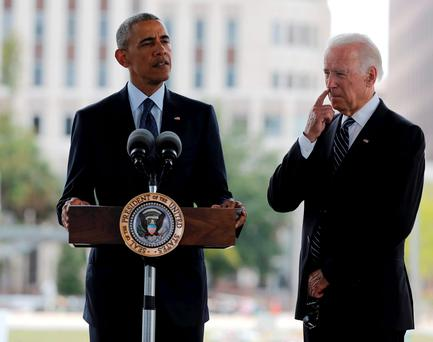 U.S. President Barack Obama (L) delivers a statement next to Vice President Joe Biden after meeting privately with survivors and family members of shooting victims of the massacre at a gay nightclub in Orlando, Florida, U.S., June 16, 2016. REUTERS/Carlos Barria