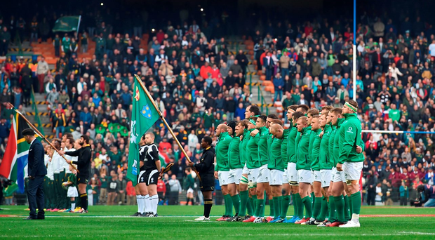 Ireland players stand for the national anthem before the first test in Cape Town last Saturday Photo by Brendan Moran/Sportsfile