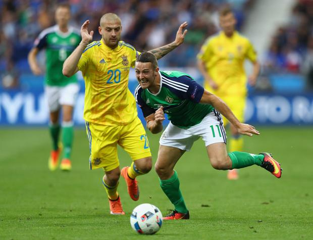 Craig Cathcart and Yaroslav Rakitskiy compete for the ball (Photo by Julian Finney/Getty Images)