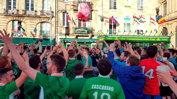 Irish fans congregate at The Connemara Irish Pub in the picturesque French city of Bordeaux ahead of the Republic's match against Belgium on Saturday. PRESS ASSOCIATION Photo. Picture date: Thursday June 16, 2016. See PA story SPORT Euro2016 IrelandConnemara. Photo credit should read: Catherine Wylie/PA Wire