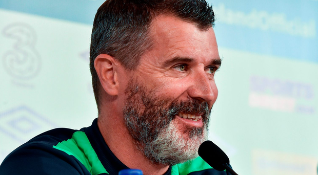 Roy Keane in relaxed mood yesterday as he looked forward to Ireland's match against Belgium Photo by David Maher/Sportsfile