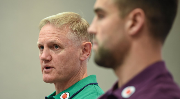 Joe Schmidt alongside Conor Murray during a press conference at the Sandton Sun Hotel in Johannesburg Photo by Brendan Moran/Sportsfile