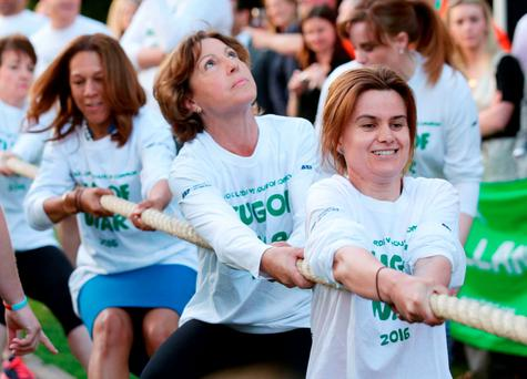 Jo Cox takes part in a charity tug-of-war in this undated photo. Photo: Yui Mok/PA Wire