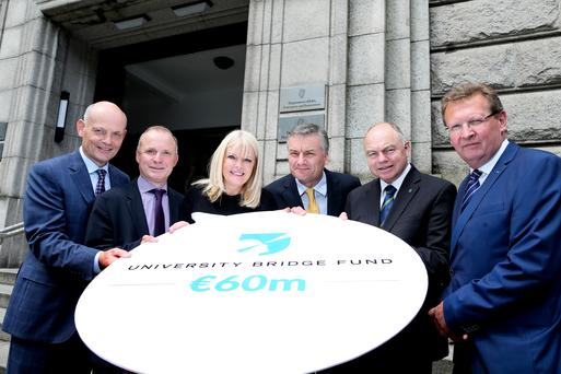 16/06/2016 NO REPRO FEE, MAXWELLS DUBLIN Pic shows ( l to r ) Walter Hobbs, Executive Director Investment & Finance at Enterprise Ireland, Gerry Maguire, General Partner Atlantic Bridge, Mary Mitchell O'Connor, Minister for Jobs, Enterprise & Innovation, Professor Patrick Prendergast, Provost Trinity College Dublin, Professor Andrew Deeks, President of University College Dublin and Mark Horgan, General Partner Atlantic Bridge. MAXWELLPHOTOGRAPHY.IE