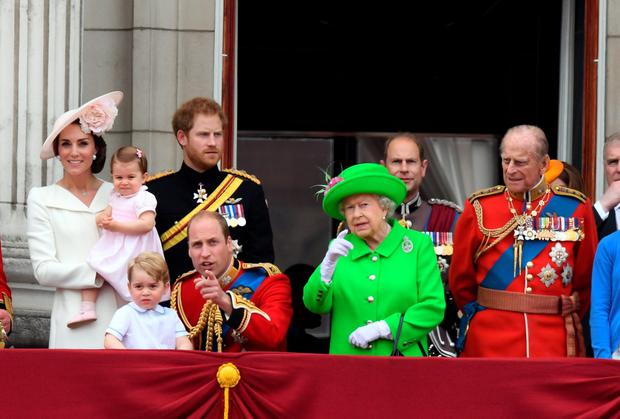 Catherine, Duchess of Cambridge, Princess Charlotte of Cambridge, Prince George, Prince William, Duke of Cambridge, Prince Harry, Queen Elizabeth ll, Prince Edward, Earl of Wessex and Prince Philip, Duke of Edinburgh appear on the balcony of Buckingham Palace following the Trooping the Colour ceremony