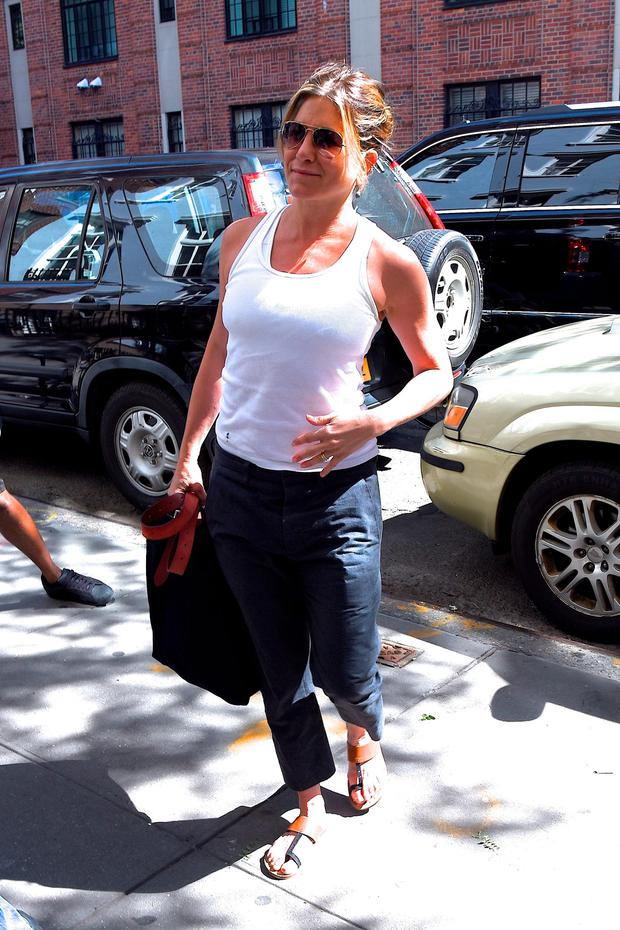 Jennifer Aniston is seen out in the West Village on June 15, 2016 in New York City. (Photo by Robert Kamau/GC Images)