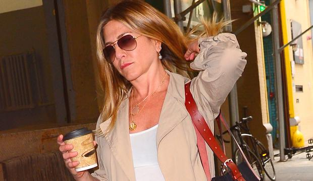 Actress Jennifer Aniston is seen walking in Soho on June 16, 2016 in New York City. (Photo by Raymond Hall/GC Images)