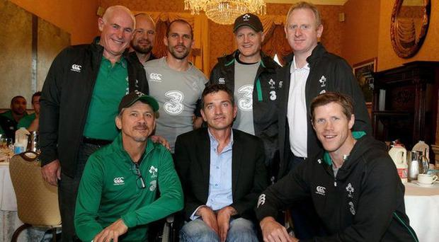 Joost van der Westhuizen pictured with the Irish backroom team on a recent trip to Ireland
