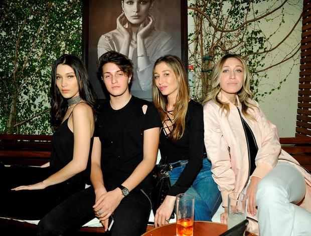 (L-R) Bella Hadid, Anwar Hadid, Marielle Hadid and Alana Hadid attend Joe's Jeans and Bella Hadid celebration for the launch of the 2016 Joe's Jeans campaign at Sunset Tower Hotel on March 17, 2016 in West Hollywood, California. (Photo by John Sciulli/Getty Images for Joe's Jeans)