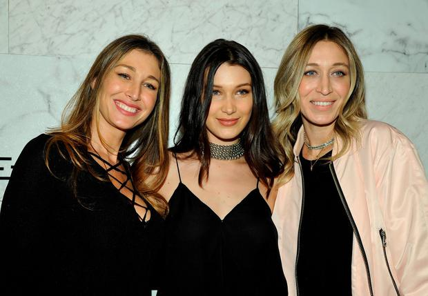 (L-R) Marielle Hadid, Bella Hadid and Alana Hadid attend Joe's Jeans and Bella Hadid celebration for the launch of the 2016 Joe's Jeans campaign at Sunset Tower Hotel on March 17, 2016 in West Hollywood, California. (Photo by John Sciulli/Getty Images for Joe's Jeans)