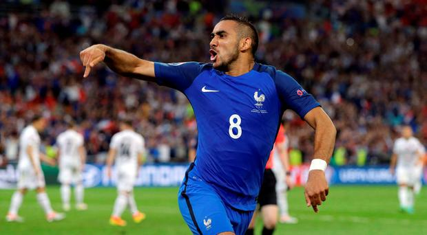 France's Dimitri Payet celebrates after scoring his sides second goal during the Euro 2016 Group A soccer match between France and Albania at the Velodrome stadium in Marseille