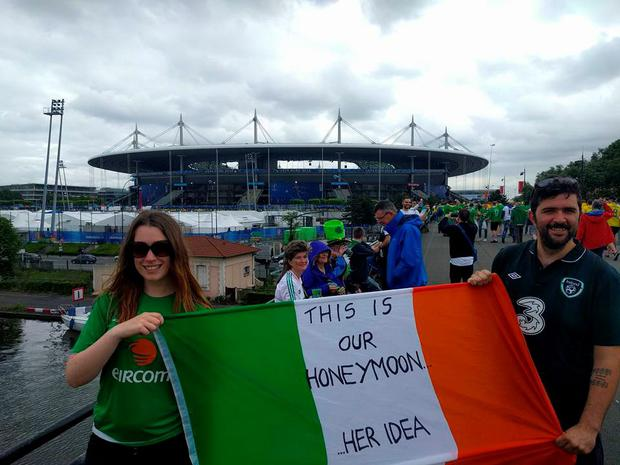 Newlyweds Alan and Jennifer Keegan at the Euros in France
