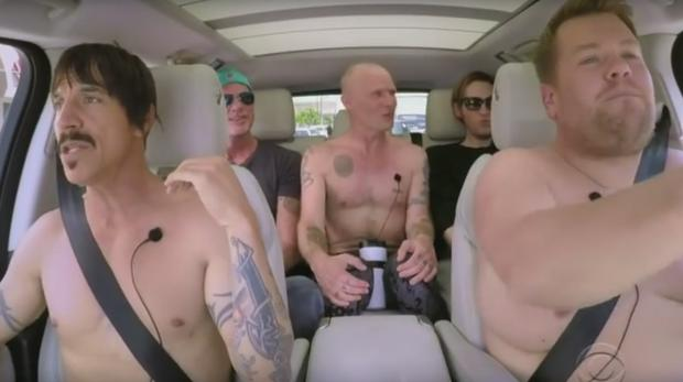 James Corden with the Red Hot Chili Peppers on Carpool Karaoke