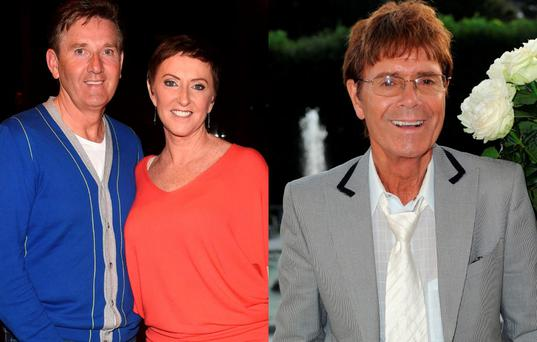 Daniel and Majella O'Donnell, left, and Cliff Richard, right