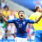 TOULOUSE, FRANCE - JUNE 17: Eder of Italy celebrates after he scores his sides first goal during the UEFA EURO 2016 Group E match between Italy and Sweden at Stadium Municipal on June 17, 2016 in Toulouse, France. (Photo by Dean Mouhtaropoulos/Getty Images)