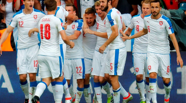 Czech Republic's Tomas Necid celebrates with team mates after scoring their second goal REUTERS/Kai Pfaffenbach Livepic