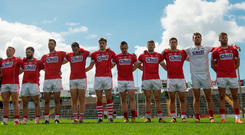 Cork players stand for the National Anthem prior to their Munster GAA Football Senior Championship Semi-Final match against Tipperary. Photo: Sportsfile