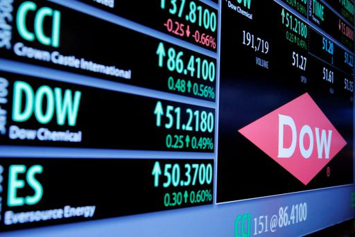 The Dow Chemical logo is displayed on a board above the floor of the New York Stock Exchange shortly after the opening bell. Photo: Reuters