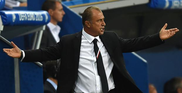 Turkey's coach Fatih Terim reacts during the Euro 2016 group D football match between Spain and Turkey at the Allianz Riviera stadium in Nice on June 17, 2016. / AFP / BULENT KILIC (Photo credit should read BULENT KILIC/AFP/Getty Images)