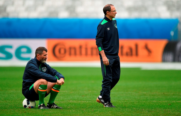 17 June 2016; Republic of Ireland manager Martin O'Neill, right, and assistant manager Roy Keane during squad training at Nouveau Stade de Bordeaux, France. Photo by David Maher/Sportsfile