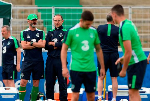 Republic of Ireland manager Martin O'Neill, right, and assistant manager Roy Keane keep an eye on the troops Picture: Sportsfile