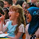 Pupils at Hansfield Educate Together School in Ongar, Dublin which was officially opened by Minister Leo Varadkar yesterday. Picture Colin Keegan, Collins Dublin.