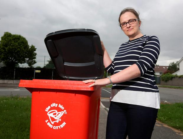 Colette Gallagher next to her bin at her home in Lucan. Photo: Damien Eagers