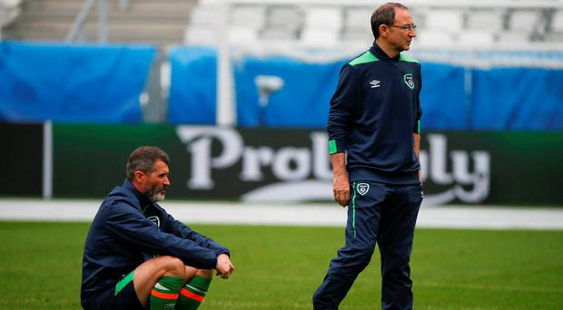 Roy Keane and Martin O'Neill in pensive mood during training in Bordeaux yesterday DAVID MAHER / SPORTSFILE