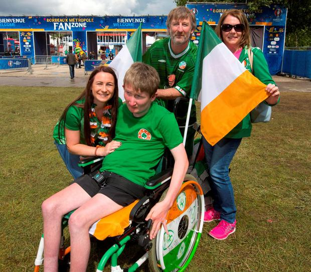 Philip and Annette Monaghan with their children Jamie (17) and Aoife (19) from Drogheda before Ireland's clash with Belgium. Pic:Mark Condren