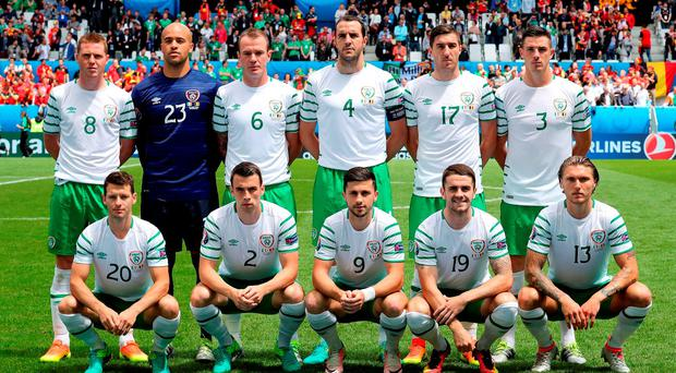 Republic of Ireland players pose for a team photograph before kick-off