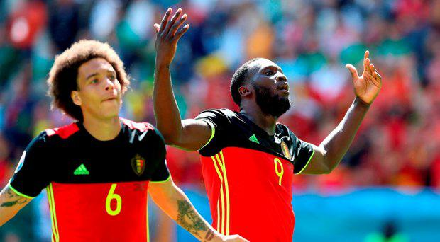 Belgium's Romelu Lukaku celebrates scoring his side's third goal of the game with Axel Witsel (left) during the UEFA Euro 2016, Group E match at the Stade de Bordeaux, Bordeaux