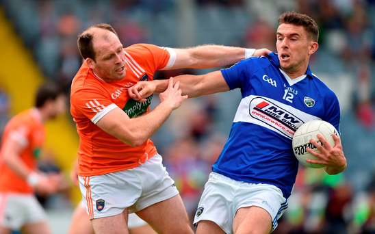 18 June 2016; Colm Begley of Laois in action against Ciaran McKeever of Armagh during the GAA Football All-Ireland Senior Championship Qualifier Round 1A match between Laois and Armagh at O'Moore Park in Portlaoise, Co. Laois. Photo by Matt Browne/Sportsfile