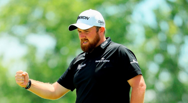 OAKMONT, PA - JUNE 18: Shane Lowry of Ireland celebrates after a par save on the ninth green during the continuation of the second round of the U.S. Open at Oakmont Country Club on June 18, 2016 in Oakmont, Pennsylvania. (Photo by Andrew Redington/Getty Images)