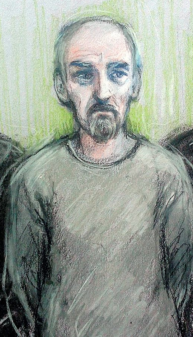 A sketch of Thomas Mair as he appeared in court yesterday. Photo: PA
